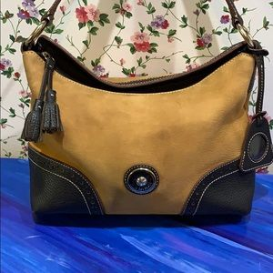 Dooney & Burke Tan & Black Leather Shoulder Bag